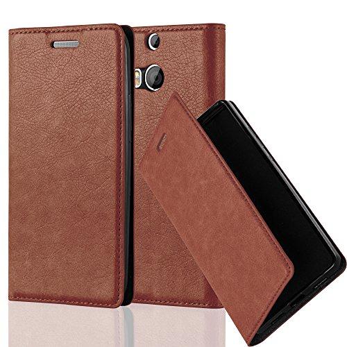 Cadorabo Hülle für HTC ONE M8 (2.Gen.) - Hülle in Cappuccino BRAUN – Handyhülle mit Magnetverschluss, Standfunktion und Kartenfach - Case Cover Schutzhülle Etui Tasche Book Klapp Style