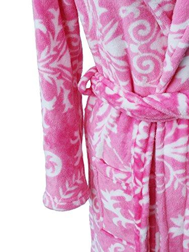 FLYILY Womens Plüsch Weiche Warme Korallen Fleece Bademantel 6 Farben Größe M-XL (FBA) RoseRed