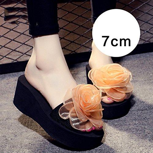 Estate Sandali 3cm / 7 centimetri femminili pistoni di estate spessi donne inferiori pistoni freddi Nuove scarpe da spiaggia moda (blu / nero / arancio / viola) Colore / formato facoltativo 7CM-Orange