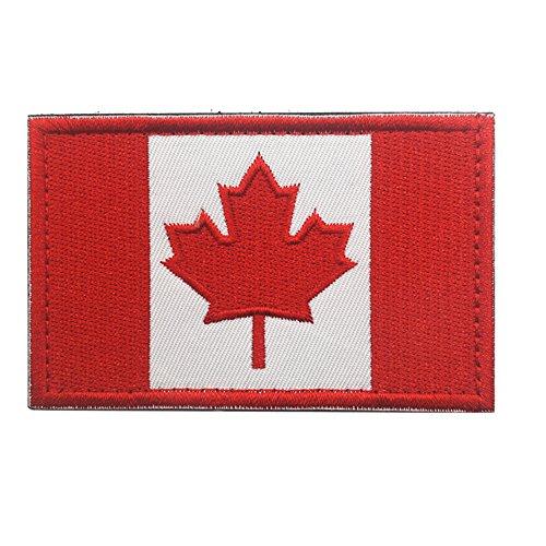 Kanadische Flagge Ahornblatt Patch Kanada Hook Loop Stickider Aufnäher Motorrad Biker TacticalTags Patch für Reise Rucksack Hüte Jacken Team Uniform weiß/rot