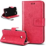 Nokia Lumia 635 Hülle,Nokia Lumia 630 Hülle,Nokia Lumia 630 / 635 Leder Wallet Tasche Brieftasche Schutzhülle,NSSTAR® Malerei Schmetterling Muster PU Lederhülle Flip Hülle im Bookstyle Cover Schale Stand Ständer Etui Karten Slot Schutzhülle Grau Tasche Wallet Case für Nokia Lumia 630 / 635 - Rose Red