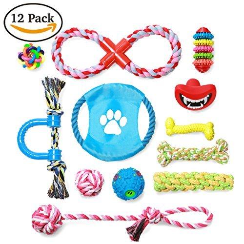 s, 12Pack Geschenk der Schwierigen Kauen quietschende Spielzeuge, Bell Ball, IQ Treat Ball und Seil Spielzeug für mittlere bis kleine Hund Hund (Glow Stick In Bulk)