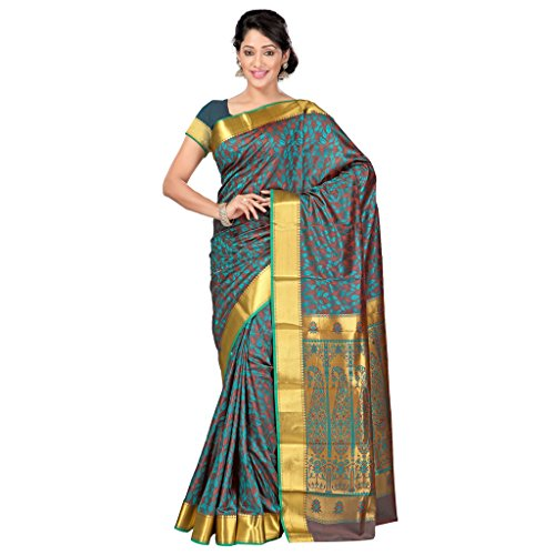 Varkala Silk Sarees Women's Art Silk Kanchipuram Saree With Blouse Piece(JP8110RMRD_Brown_Free Size)