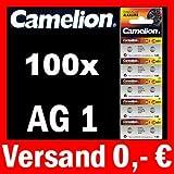 100x AG1 LR60 KNOPFZELLE 164 364 GP64A SR621W CAMELION
