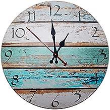 Kurtzy Reloj de Pared de Madera de 30cm - Reloj Manecillas Silenciosas Números Vintage - Reloj Redondo de Madera Decorativo Shabby Chic - Silencioso ...
