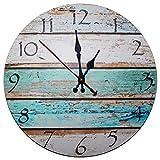 Kurtzy 30cm Wanduhr aus Holz - Vintage Uhr mit Römischem Zifferblatt und Shabby Chic Design mit leisem Quartz-Uhrwerk - Antike Schicke Dekorative Runde Holz Wanduhr - für Wohnzimmer, Küche, Schlafzimmer, Badezimmer - Retro Wanddeko Ziffernuhr