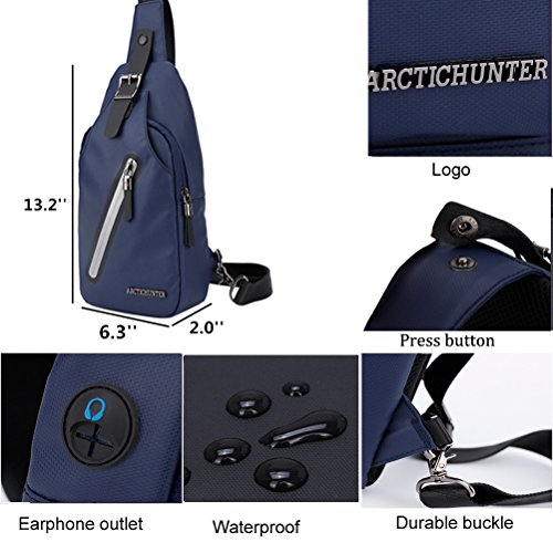 Arctic Hunter Messenger Bags Sling Bag Uomo Croce Corpo Zaino Nero