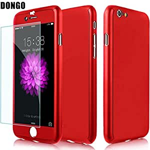 Aart New Style ultra thin 360 Degree full protection + Tempered Glass For Apple 5.5 Inch for I Phone 6 Plus/6S Plus- Red