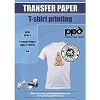 PPD-1-10 A4 A getto d'inchiostro maglietta carta transfer per luce e tessuto bianco - 10 Fogli