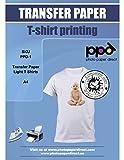 PPD-1-10 , Papier transfert jet d'encre à repasser sur t-shirts claire et blanc A4, 10 feuilles