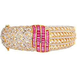 Swasti Jewels American Diamond CZ Fashion Jewellery Traditional Ethnic Bracelet Kada for Women ( PINK )