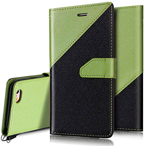 Custodia iPhone 6S 4.7 Cover iPhone 6 4.7,Ukayfe Stitching Colore Flip Case Cover per iPhone 6S 4.7,iPhone 6/6S Lussuosa Astuccio Custodia Cover [PU Leather] [Shock-Absorption] Protettiva Portafoglio Nero + Verde