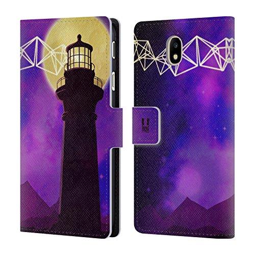 Head Case Designs Leuchtturm Geometrischen Landschaften Brieftasche Handyhülle aus Leder für Samsung Galaxy J7 2017 / Pro