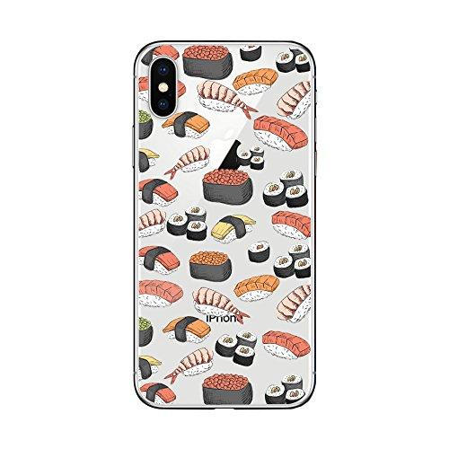 FancyCase Schutzhülle für iPhone XS Max, lustiger Stil, weiches TPU, Sushi Design Stil Design Iphone