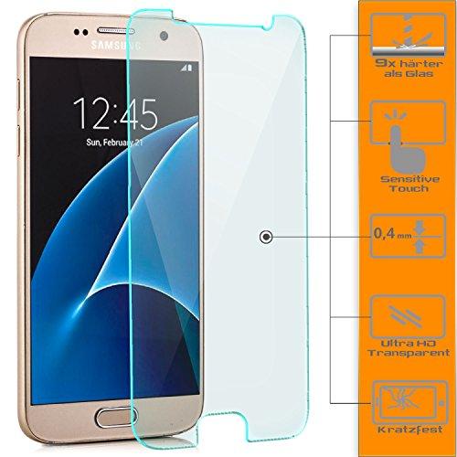 zanasta 2x Displayschutz Folie aus Gehärtetem Glas Samsung Galaxy S7 Displayschutzfolie Panzerglas Glasfolie Hartglas Schutzfolie | HD Klar Transparent