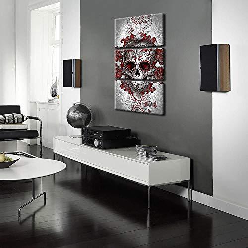 HGHJGFY Pintura Mural Pintura al óleo Lienzo Pintura Triple Color cráneo salón Pintura Decorativa, sin Marco