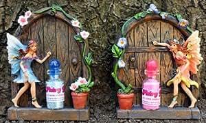 Set of 2 sparkle fairy door with 2 fairy dust bottles for Amazon uk fairy doors