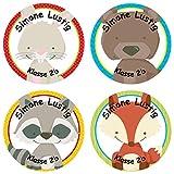 Papierdrachen 24 individuelle Aufkleber für Kinder - Motiv Wald - personalisierte Sticker - Schule Einschulung