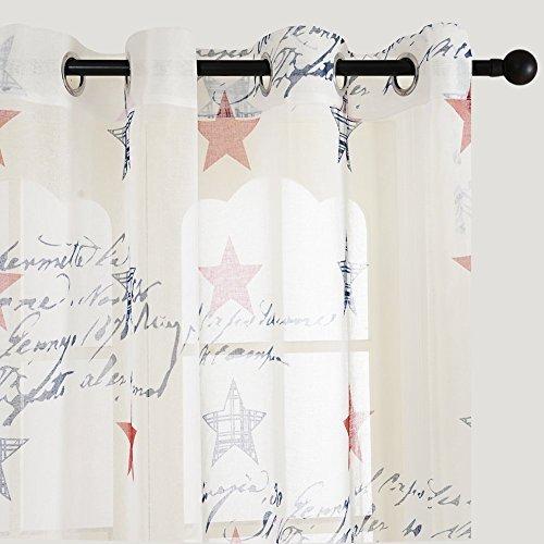 Top Finel cortina de paneles para sala de estar,.dormitorio con la pintura de estrella de suerte de estados unidos,140 cm anchura por 215 cm longitud,con ojales,solo panel