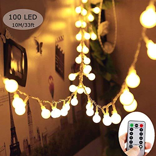 Catena luminosa, massway led luci stringa decorative 10m 100 led bianco caldo luci natalizie da esterno e interno con 8 modalità flash per casa, festa, matrimonio, giardino, natale