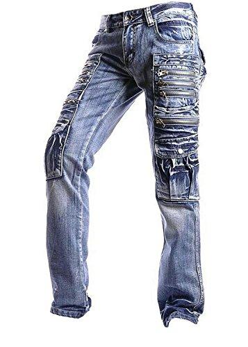 jeansian Herren Entwickelt Gerade Geschnittene Blue Jeans MFN_J007 J002_Blue