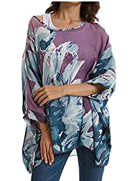 3e416a559bb OUKIN Womens Chiffon Blouse Bohemian Floral Batwing Sleeve Plus Size Tops  Tunic