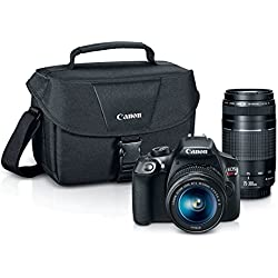 Canon EOS Rebel T6 18MP Digital SLR Camera Kit with EF-S 18-55mm and EF 75-300mm Zoom Lenses (Black)