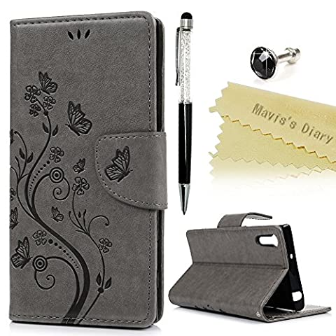 Mavis's Diary Xperia XZ Case ,Sony Xperia XZ / XZs Case - PU Leather Wallet Flip Case with Detachable Hand Strip [Butterfly & Flower Embossed Design] Card Slots & Stand & Magnetic Closure with One Dust Plug & One Stylus for Sony Xperia XZ / XZs -