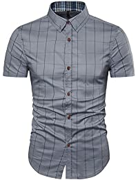 AIYINO Mens Cotton Casual Slim Fit Short Sleeve Dress Shirt in 5 Colors