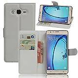Qiaogle Telefono Case - Custodia in pelle PU Basamento Custodia Protettiva Cover per Samsung Galaxy ON5 / ON5 Pro / SM-G5500 (5.0 Pollici) - FC03 / Bianca Stile di affari di modo