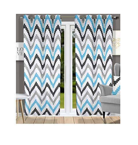 Ösenvorhang Ösenschal Schal Dekoschal für Fenster Dekorative Gardine viele Farben Leinen 2er Set Vorhänge mit Ösen Zigzag 145x250 cm YK-2 (Grau-Blau) (Dekorative Fenster-schal)