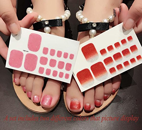 QCBC Full Nail Toes Stickers,Gradient color Style 20 Decals/sheet (Pack of 2 Sheets) 2