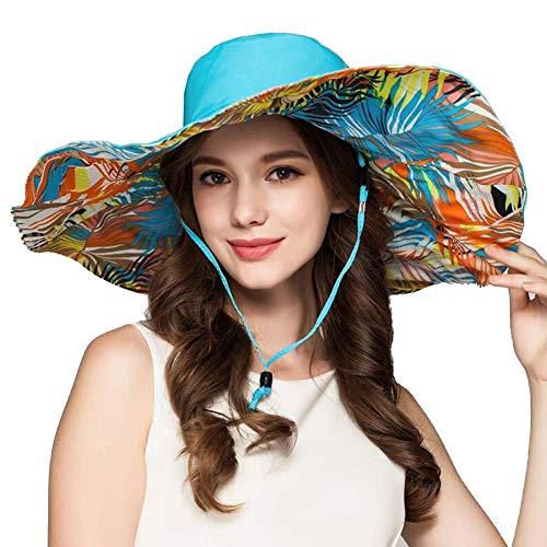 Sun Hats Womens Faltbare Floppy Reversible Wide Brim Beach UPF 50+ (Farbe: Blau, Größe: 55-58cm) -