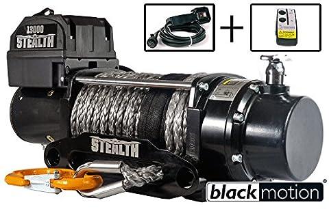 Elektrische Seilwinde Black Motion Stealth 13000LB 5,9 t Kunststoffseil 12 V