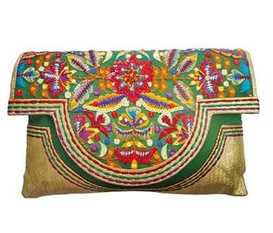 Bhamini Women's Parsi Design Bharat kam ethnic clutch (Green)