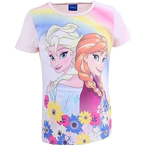DISNEY Niñas Frozen Camiseta, rosa