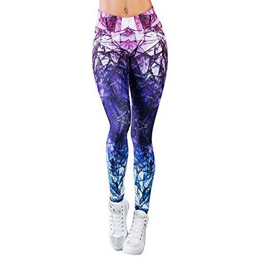 YWLINK Damen Sporthalle Yoga Training Farbverlauf Farbe Mid Waist Laufhose Fitness Elastische Gamaschen(M,Lila)