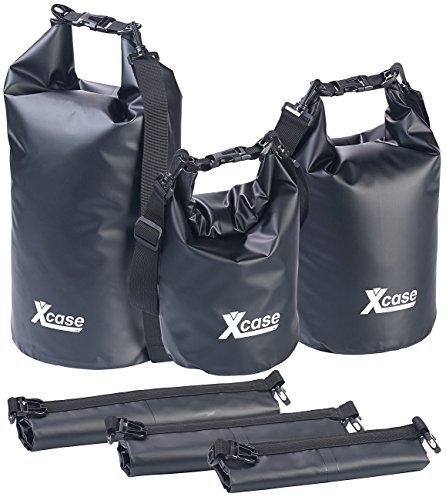 Xcase Schwimmender Seesäcke: 3er-Set Wasserdichte Packsäcke aus LKW-Plane, 5/10/20 Liter, Schwarz (Schwimmsack)