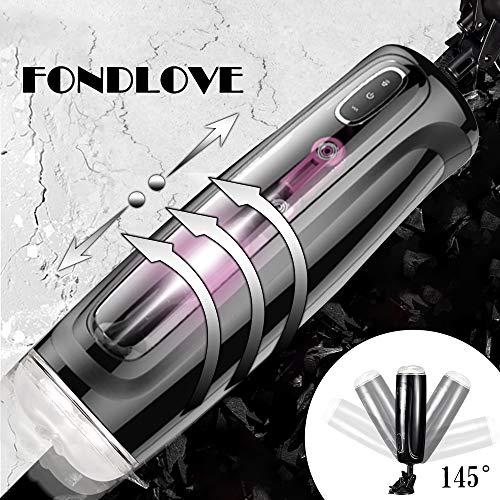 Fondlove Automatischer Masturbator Cup Teleskopischer Rotations Masturbatoren mit Stossfunktion Stimme Masturbieren Sexspielzeug für Männer 10 Modi 10 Geschwindigkeit