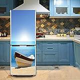 HHYS Kühlschrank Tür Aufkleber Selbstklebend Wasserdicht Blau Meerblick Boot Muster,60X150cm(23.6''X59'')