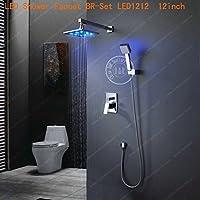 Fashion doccia a pioggia set di 8–10–12–16, Manico singolo a parete rubinetto miscelatore per vasca e doccia in ottone cromato br-led Red