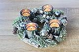 Kamaca Adventskranz aus massiven Holzzweigen mit Deko wie Tannenzweigen und Glas Kerzenhaltern inklusive 4 LED Teelichter Advent Weihnachten - 3