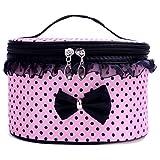 Sunnywill Tragbare Travel Kulturbeutel Make-up Kosmetik Tasche Organizer Halter Handtasche für Frauen Mädchen Damen (Rosa)