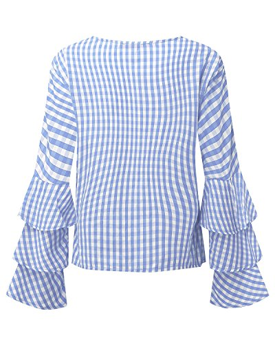 StyleDome Damen Zerzauste Lotus Hülse Lange Ärmel Karo Crew Neck Loch Tops Shirts Hellblau670475