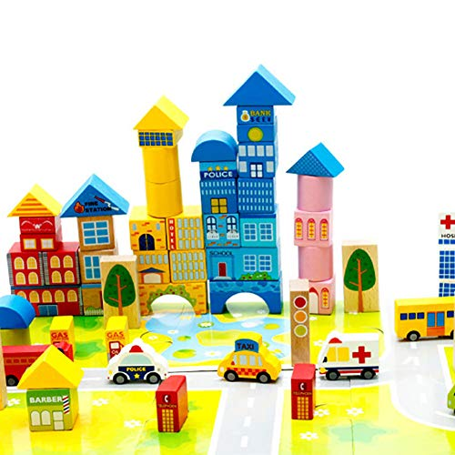 Makwes 62 Stücke Städtischen Stadt Transport Bausteine Holz Montage Kinder Baby Spielzeug, Bausteine Spielzeug, für Kleinkinder Jungen, Kinder Party Supplies, Spielzeug Spiele