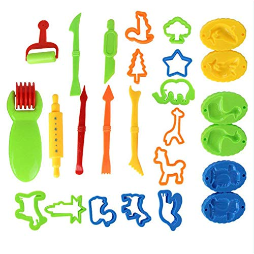 DYTesa 26 Pcs/Set Kids DIY Clay Tool Dough Play Tools Cutters Various Shapes Include of Cutters Models Animal Molds Rolling Pin