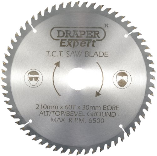Draper 09478 TCT - Cuchilla de sierra circular (210 x 30 mm, 60 dientes)