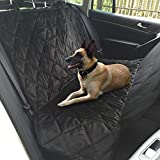 [Double Layer] IWILCS Dog Car Seat Cover,Super Durable Soft Padded Heavy Gauge Waterproof Fabric Back Seat Covers Travel Hammock with Pet Dog Car Seat Belt Universal Design for All Cars,Trucks,SUVs(Black)