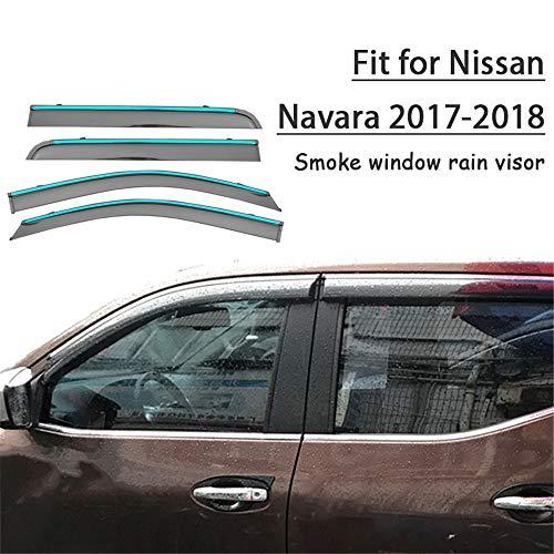 HCDSWSN Deflettori Aria per Auto,Protezione deflettore per Visiera Parasole per Finestra per Fumo 4 Pezzi, per Nissan Navara 2017 2018 Accessori