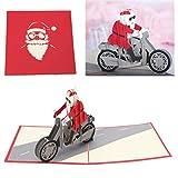 Koehope 3D Santa Claus Grußkarte Pop Up Paper Cut Postkarte Geburtstag Weihnachtsgeschenk
